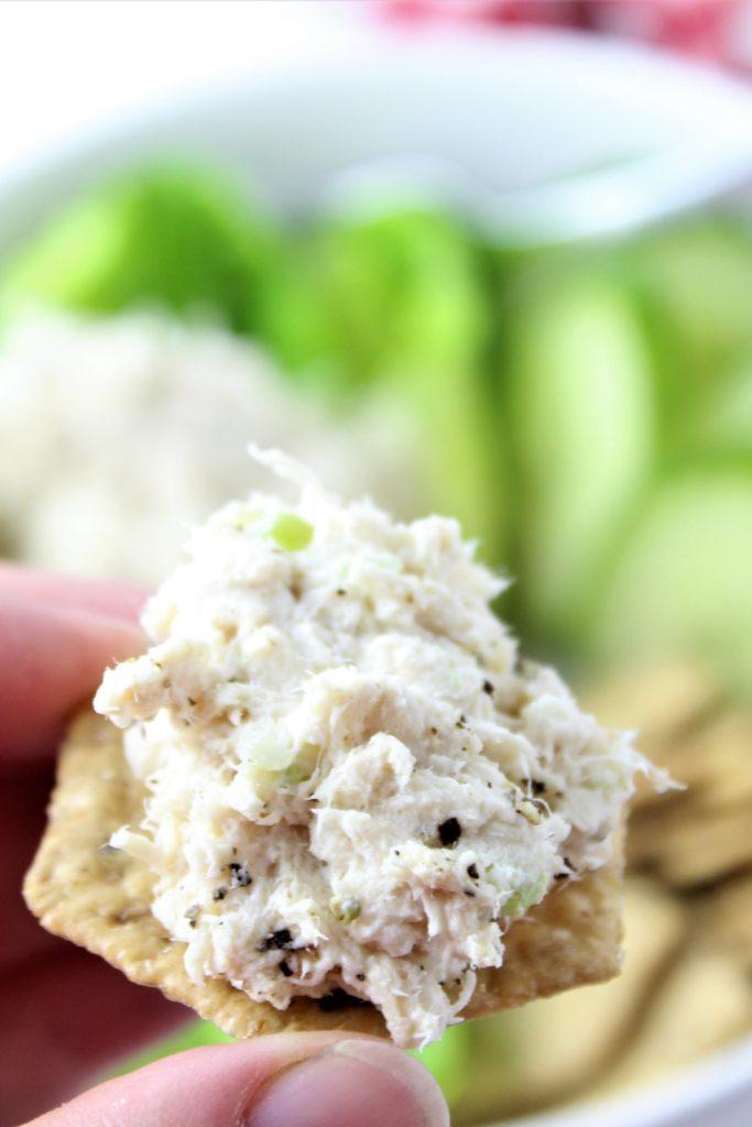 chicken salad on a cracker