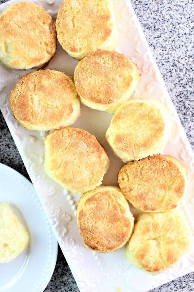biscuits on a white rectangular platter