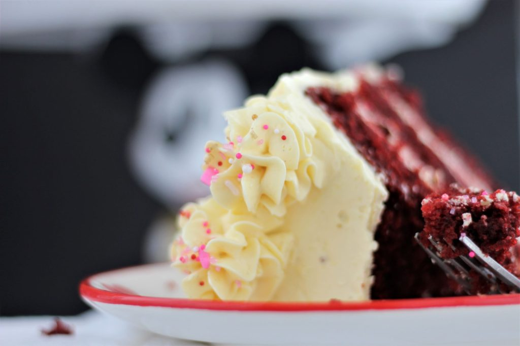 side view of slice of cake on red rimmed plate