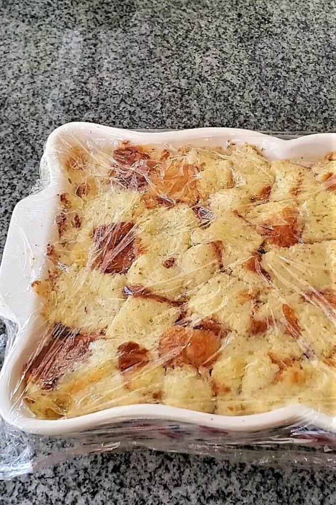 fully soaked bread pudding ready for oven