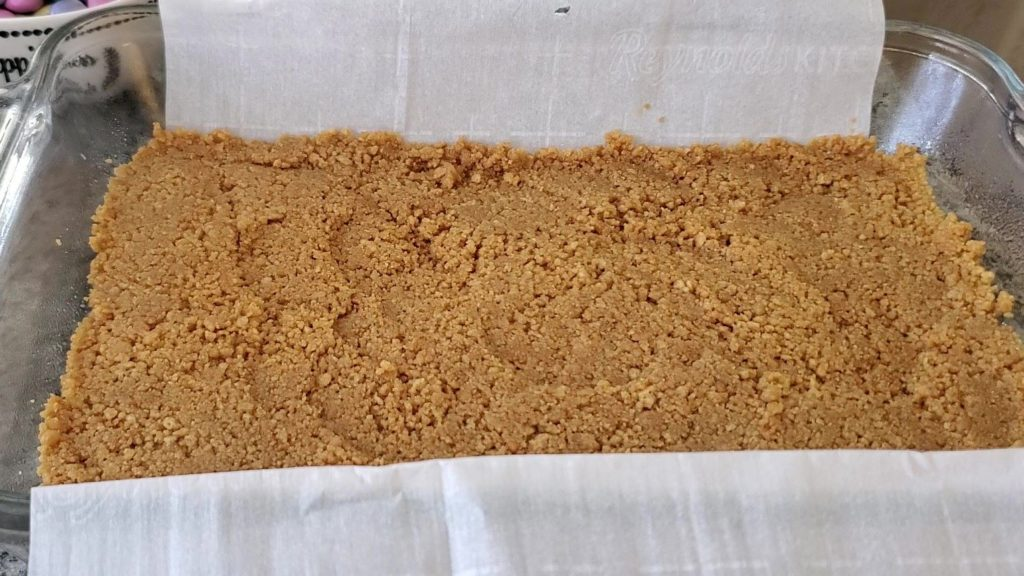 1st layer of magic cookie bars
