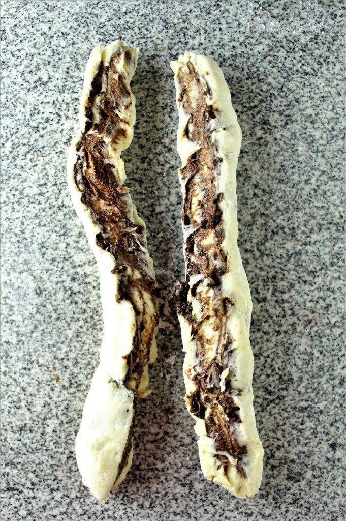 gluten free chocolate babka split in half