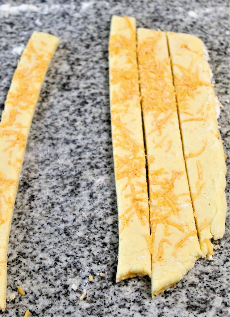 gluten free puff pastry cheese straws cut into strips