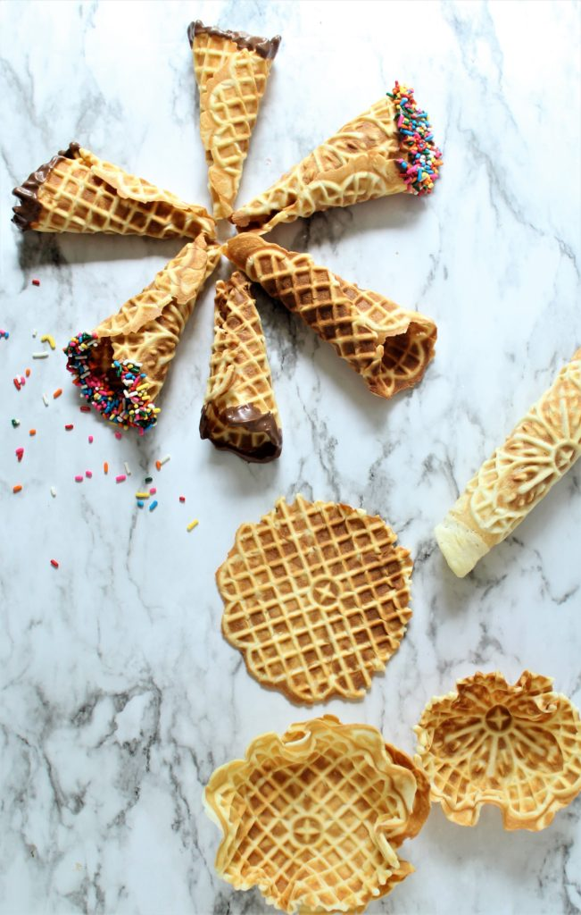 gluten free waffle cones, bowls, and pizzelles