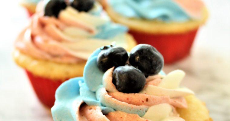 Gluten Free Red White & Blueberry Cupcakes
