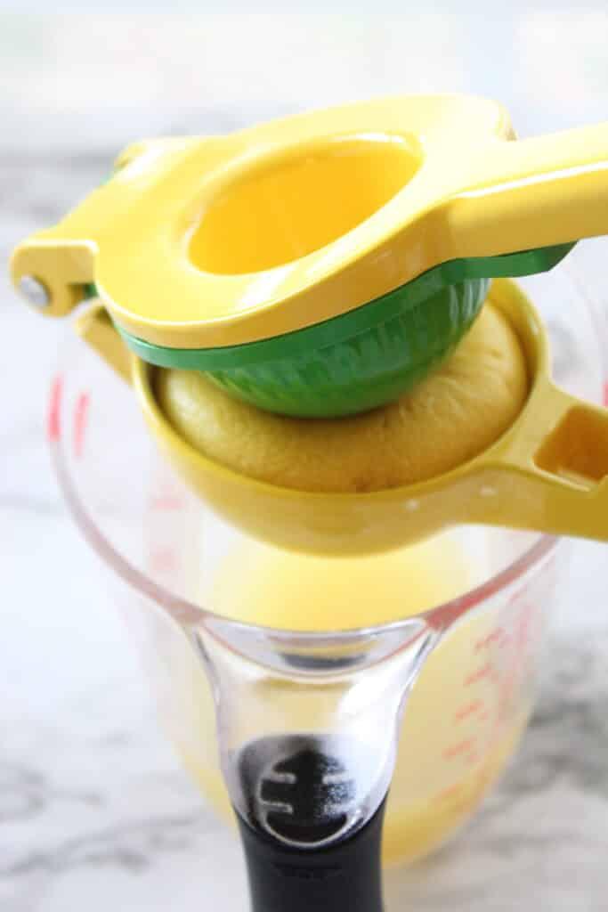 squeezing a lemon with lemon juicer