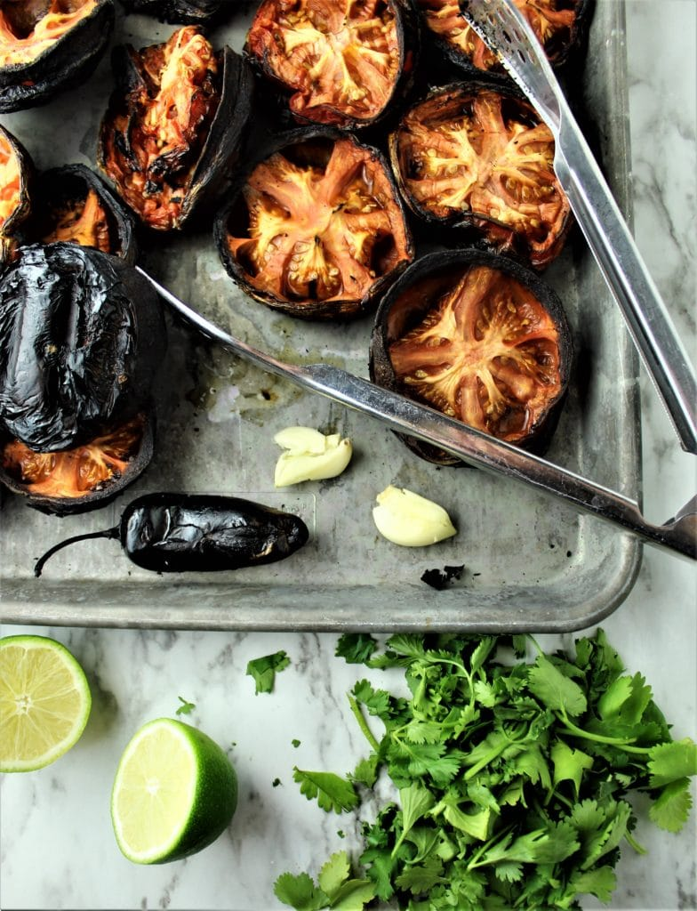charred tomatoes and jalapeno with lime and cilantro