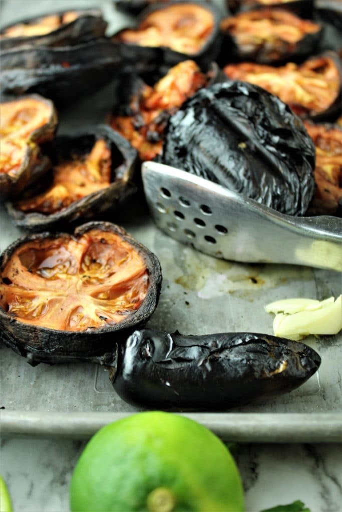 charred tomatoes and jalapeno