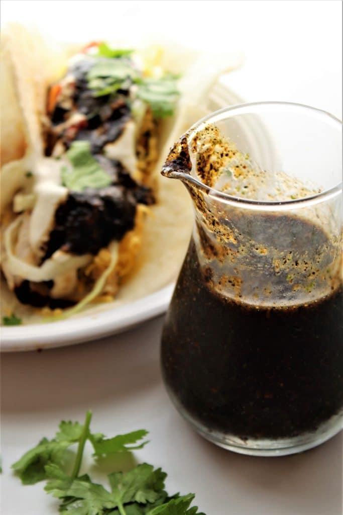 copycat baja fresh salsa in front of tacos