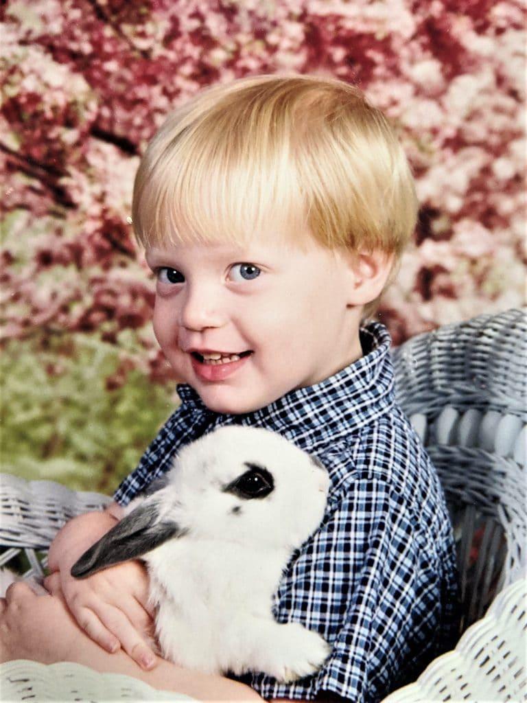 little Brandon with a bunny