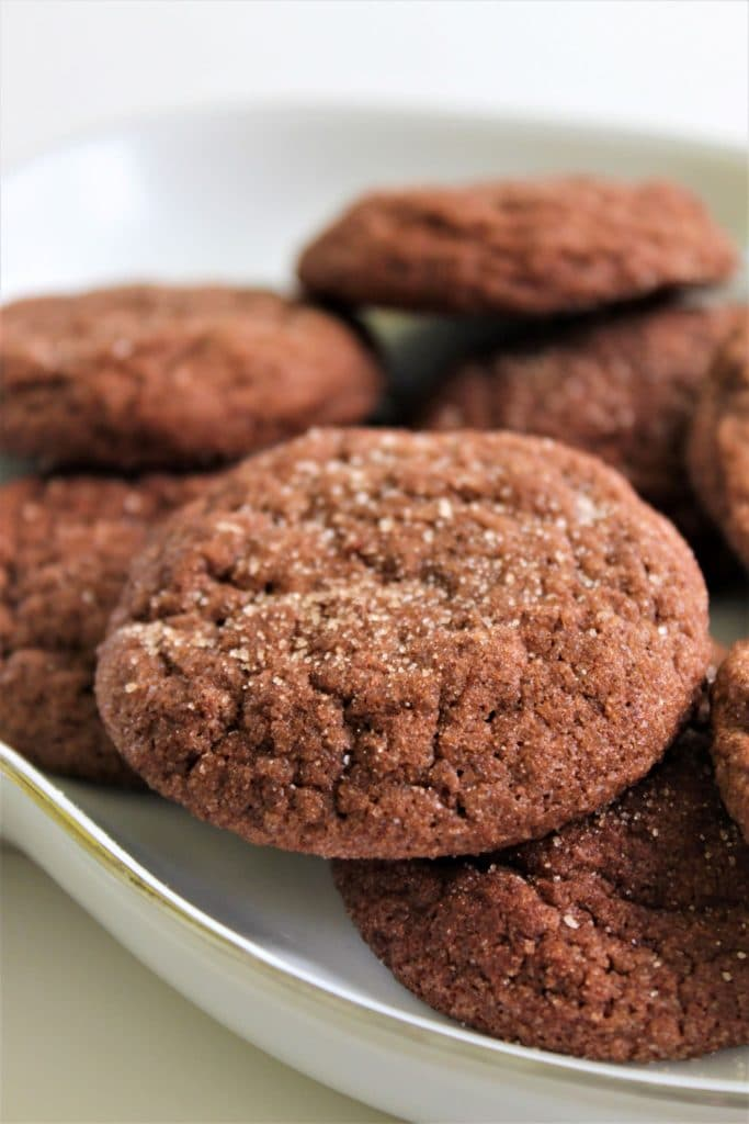 chocolate snickerdoodles on a plate