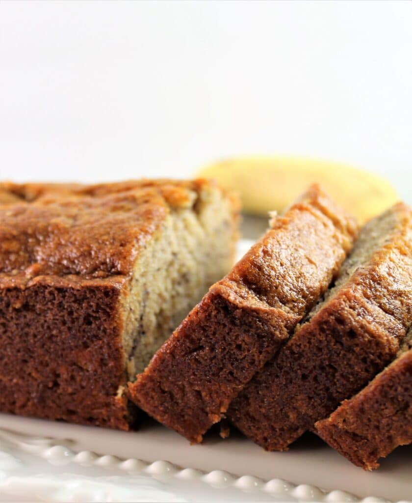 gluten free banana bread sliced on platter