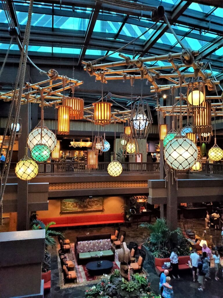 lobby in the great ceremonial house at Polynesian at Disney