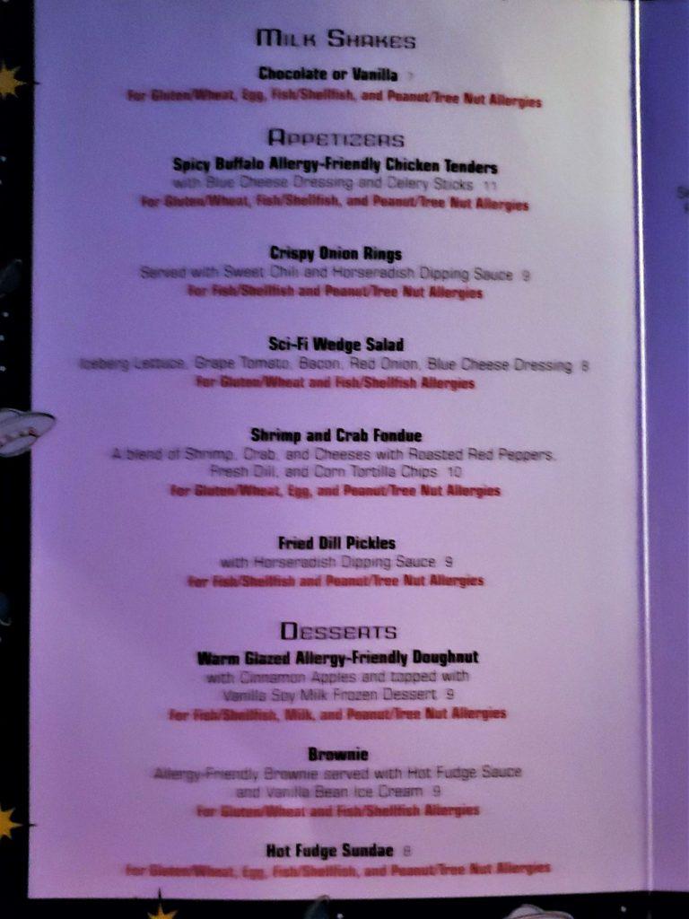 dessert allergy menu at sci-fi dine-in theater