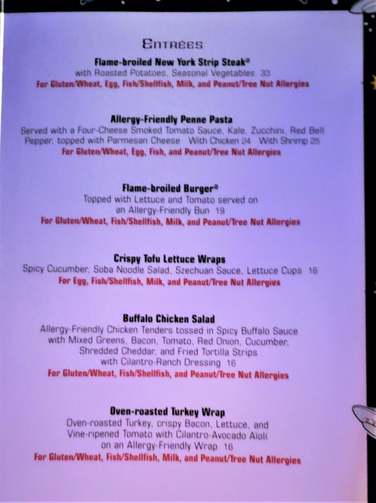 sci-fi dine-in entree allergy menu