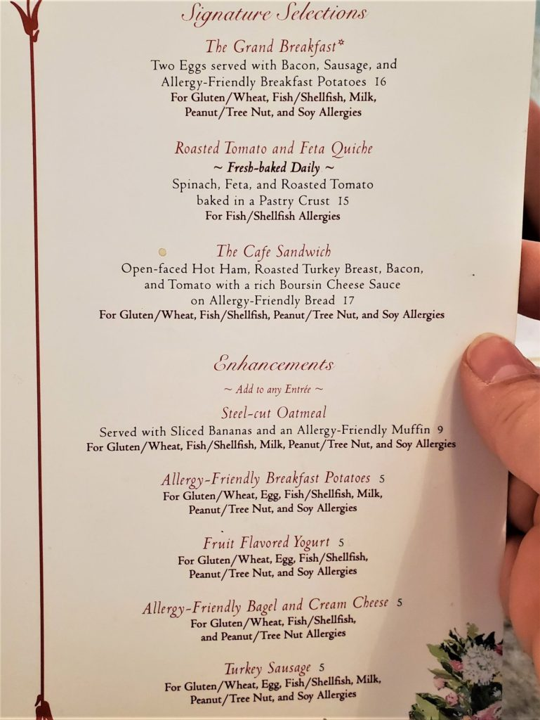 grand floridian cafe allergy menu third page