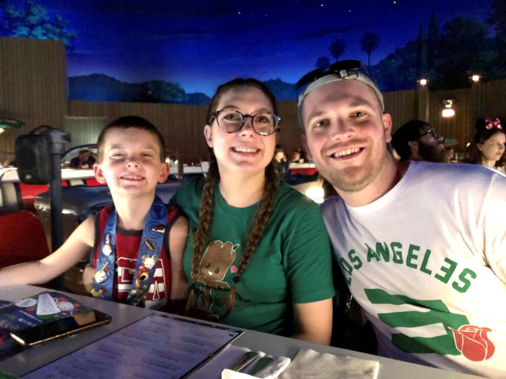 chase, sissy, and jimmy at sci-fi dine-in theater