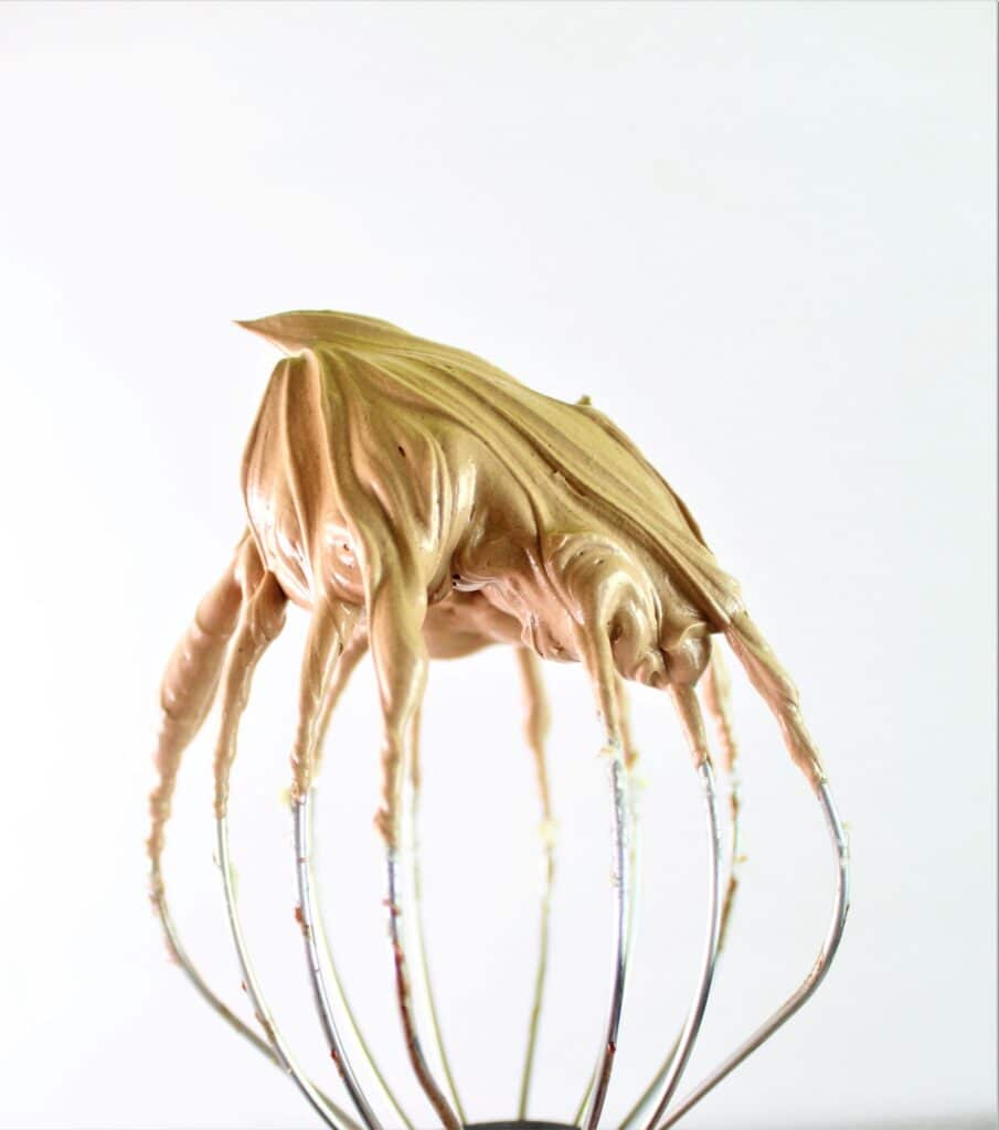 whisk attachment with french silk chocolate on it