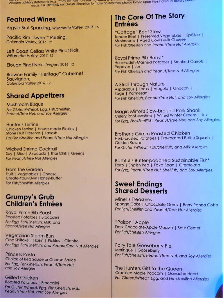 storybook dining's allergy menu