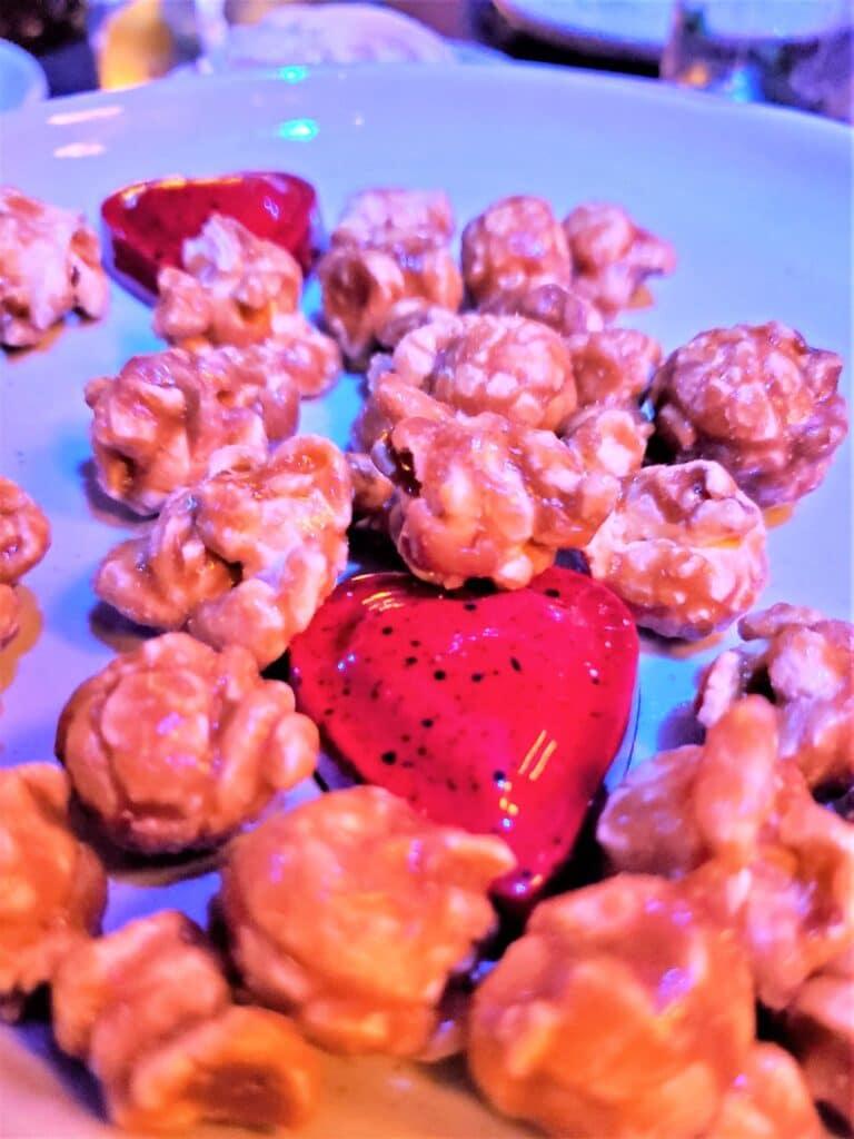 maple cracked popcorn and ganache hearts