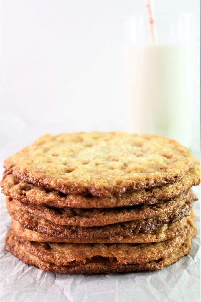 cookies in a stack with milk