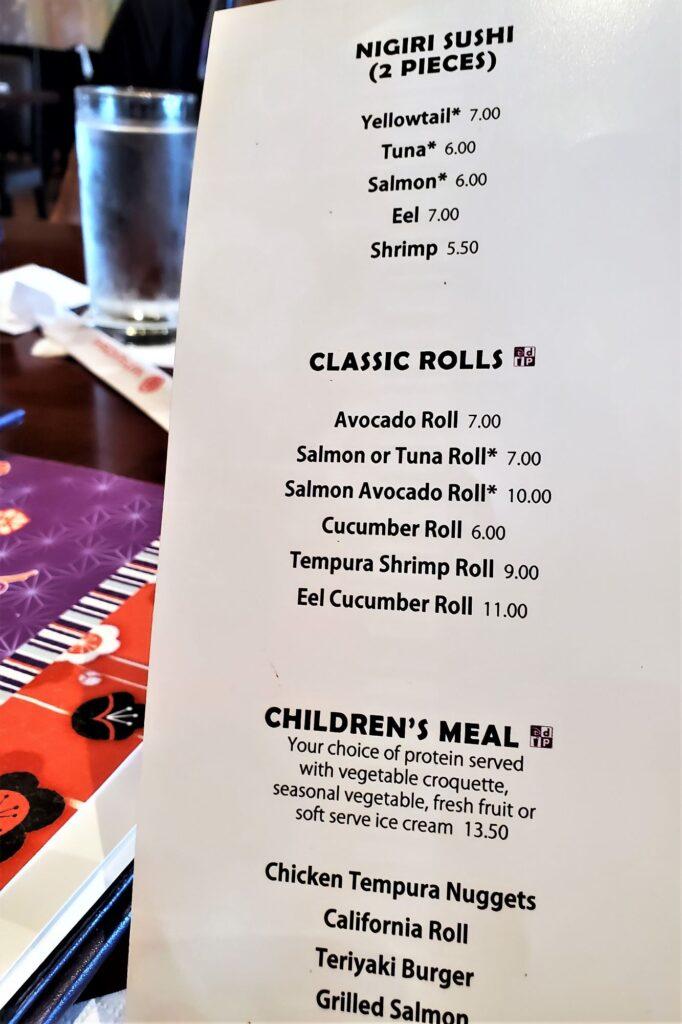appetizer sushi rolls menu