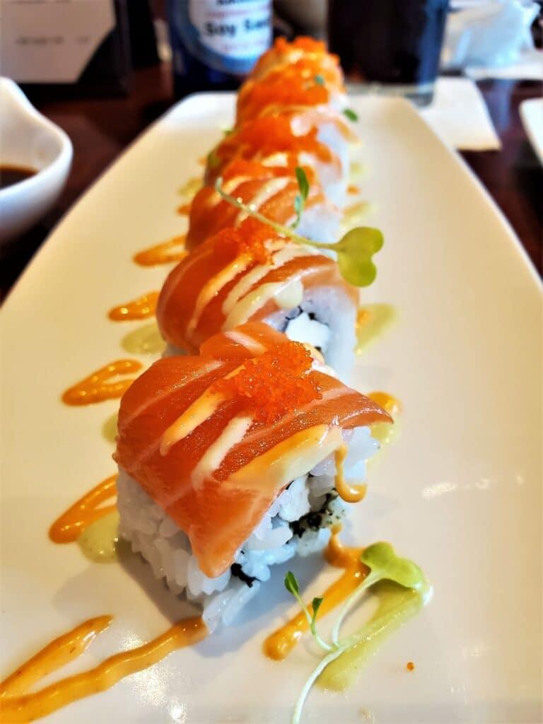 sunshine salmon roll at tokyo dining