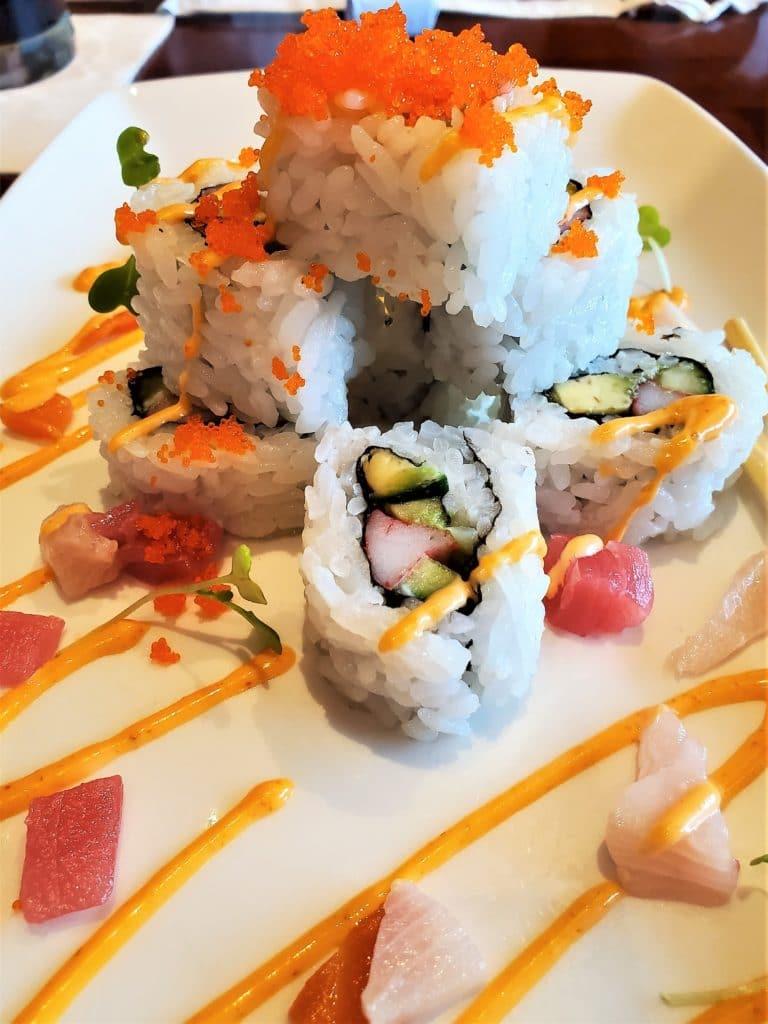 sushi roll at tokyo dining