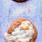 flourless fluffernutter cookies on parchment lined baking sheet