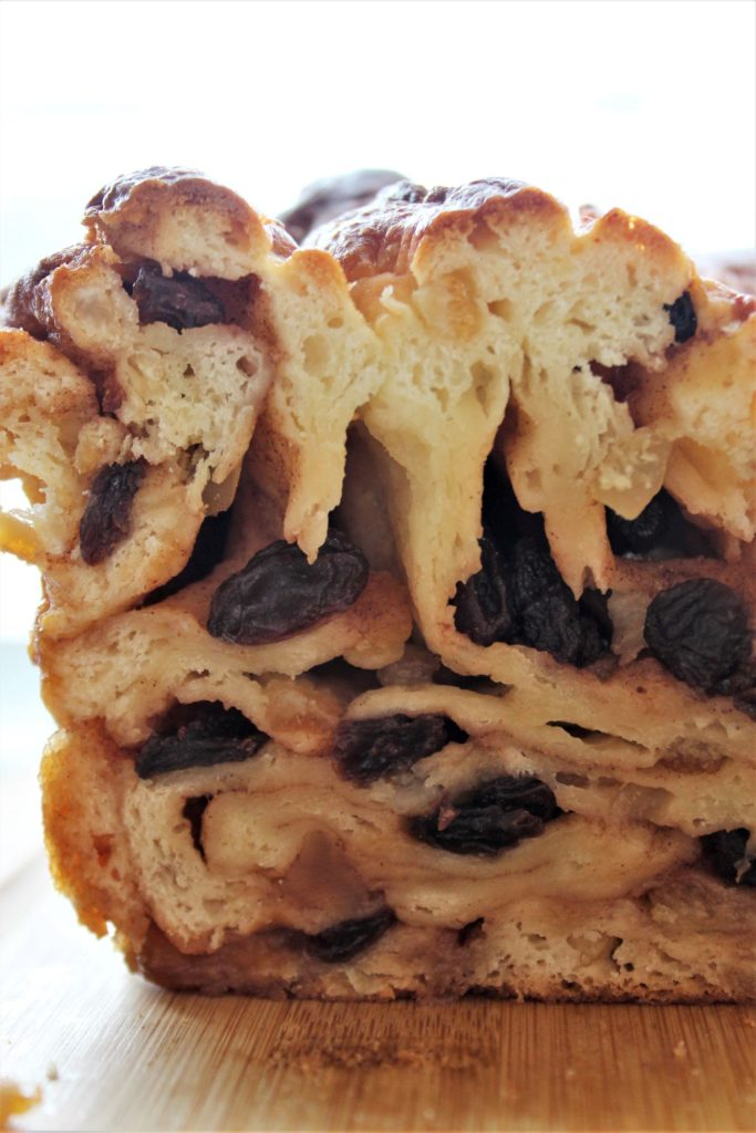 inside swirls of the panettone babka