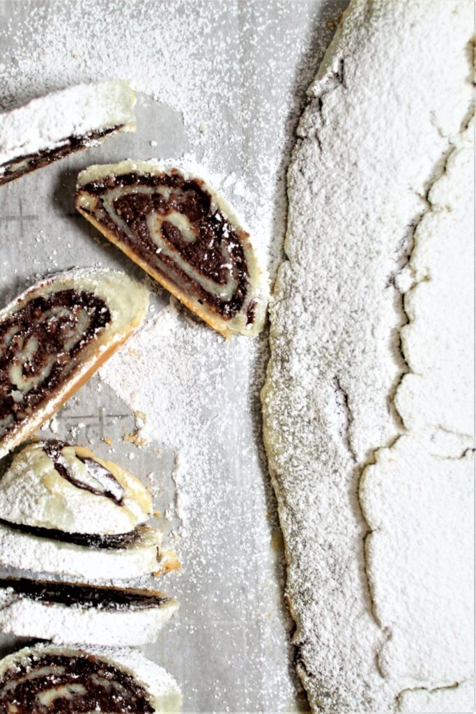 sliced cookies on white platter