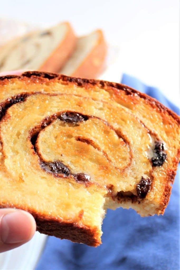 toasted slice of gf cinnamon raisin bread with bite taken