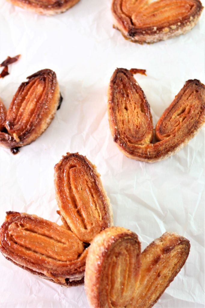 palmiers on a sheet of parchment paper