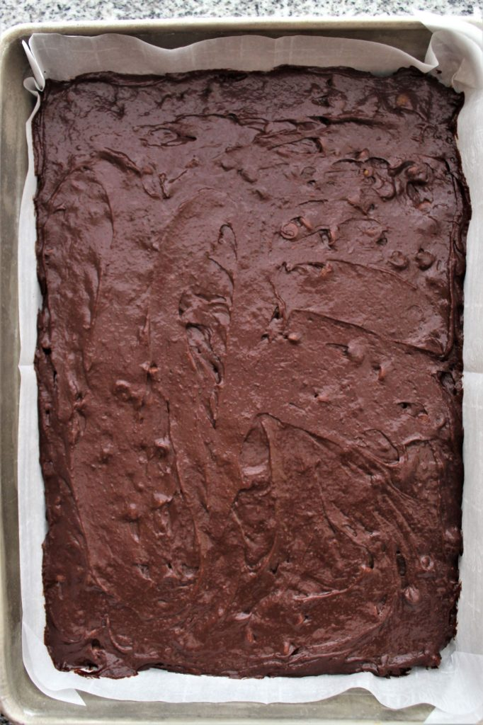 brownie batter in pan without peanut butter mixture