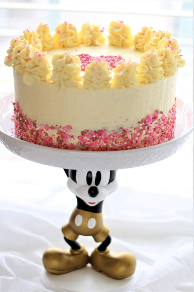 red velvet cake on mickey mouse cake stand