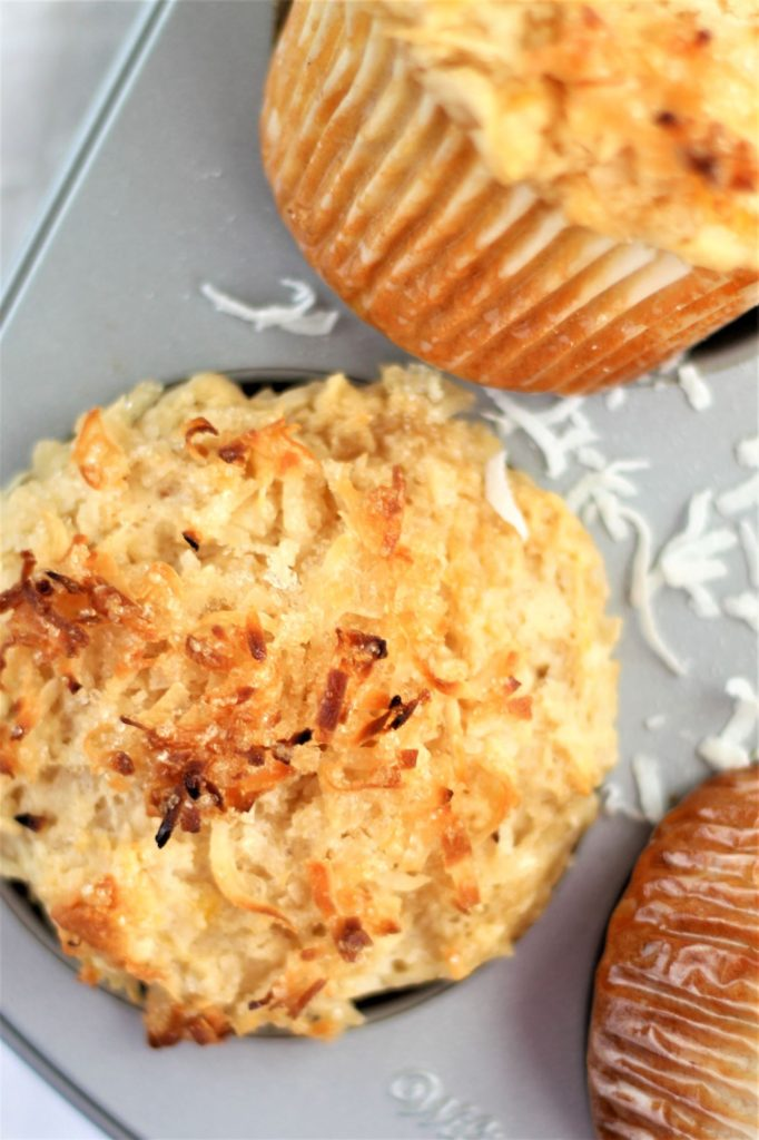 overhead view of muffins in muffin tin