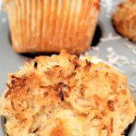 gluten free pineapple coconut muffins in muffin tin