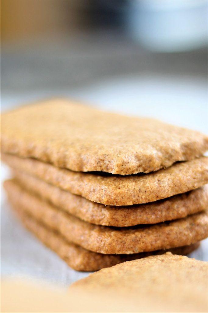 stack of biscoff cookies up close