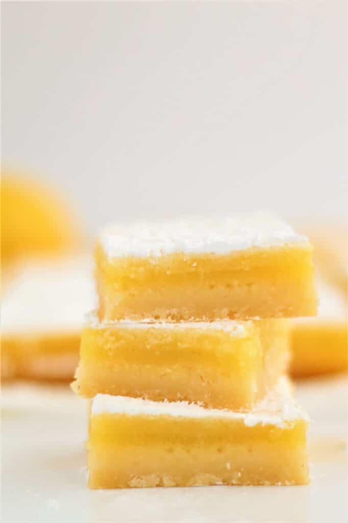 stack of 3 gluten free lemon bars