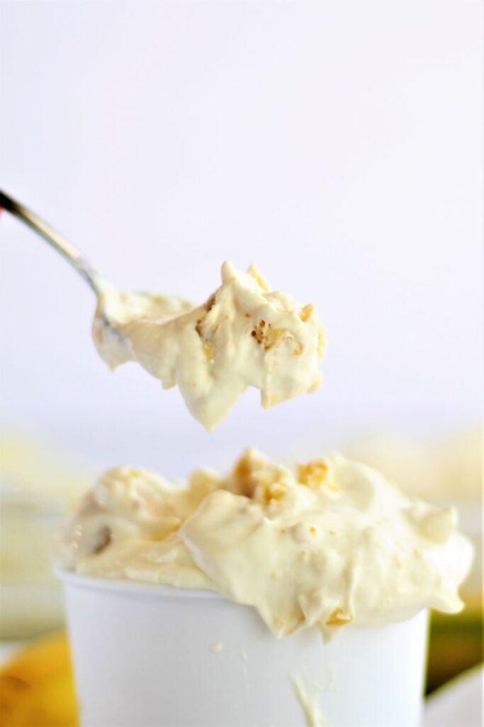 spoonful of banana pudding from large container full