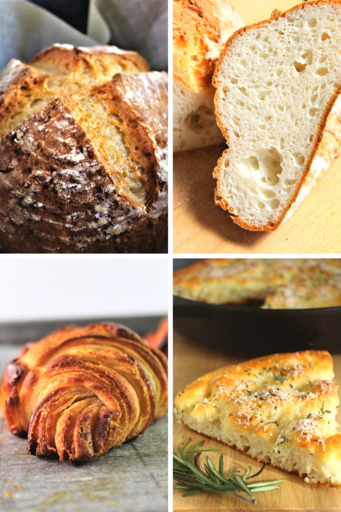 collage of breads made with Kim's gluten free bread flour blend