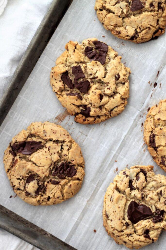 overhead shot of cookies on baking sheet