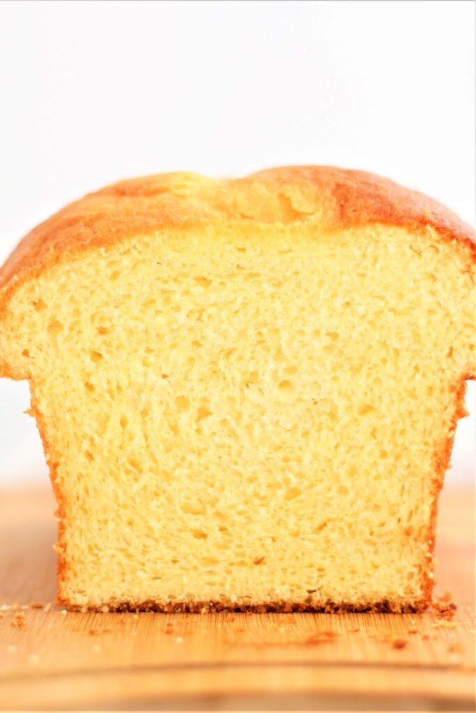 cut open view of gf brioche loaf