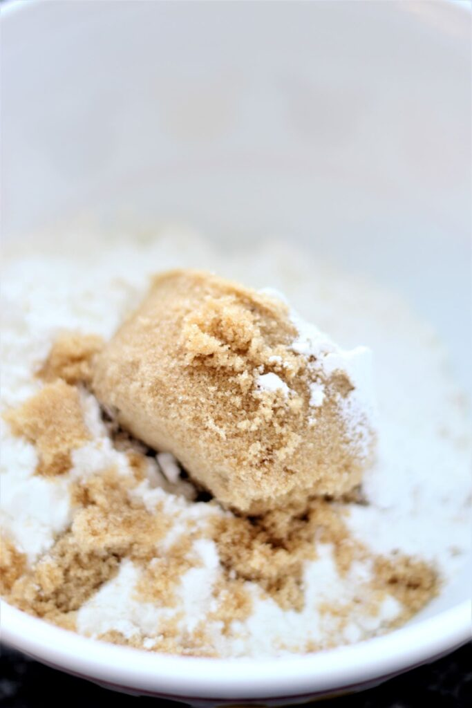 dry ingredients and brown sugar in white bowl