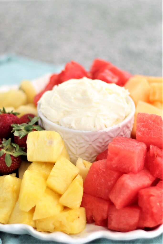 platter of fruit with fluffy marshmallow dip