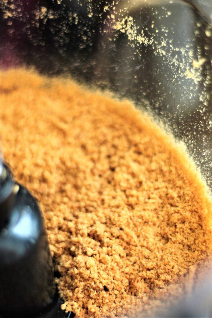 graham cracker crust in food processor bowl