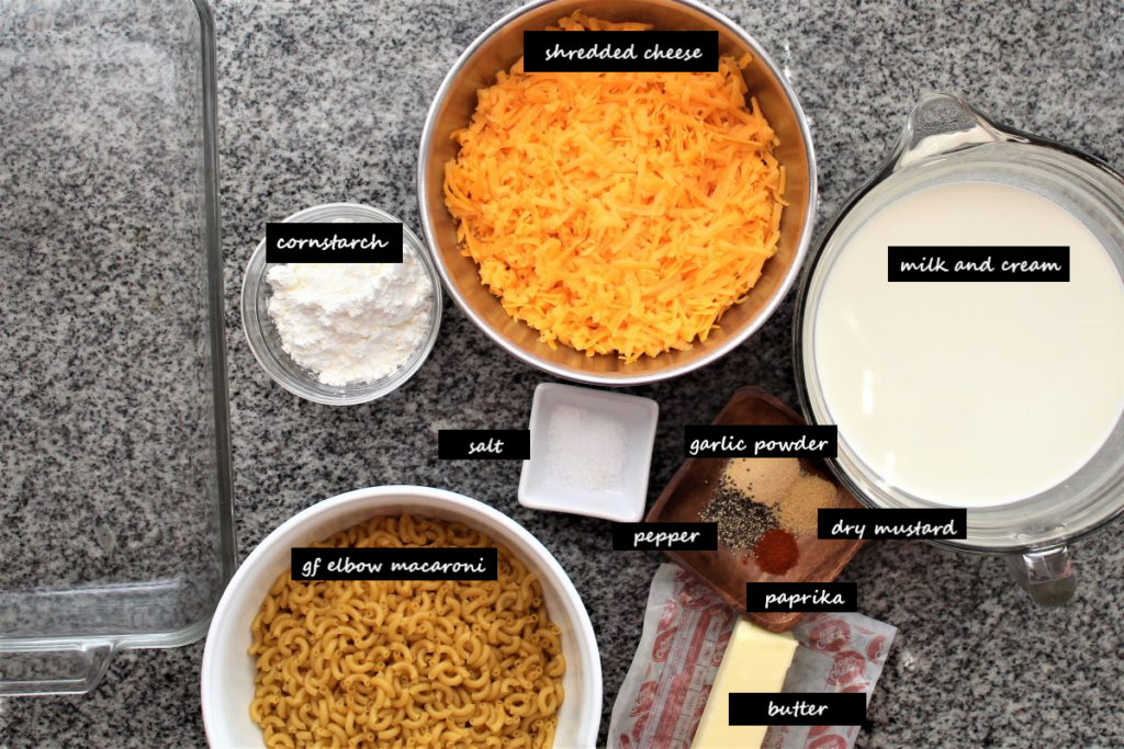 ingredients needed for making gluten free macaroni and cheese